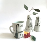 teacup and vases